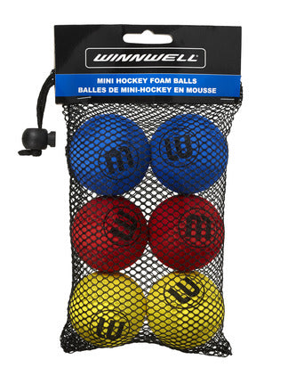 WINNWELL MINI KNEE HOCKEY BALL MULTI 6PK