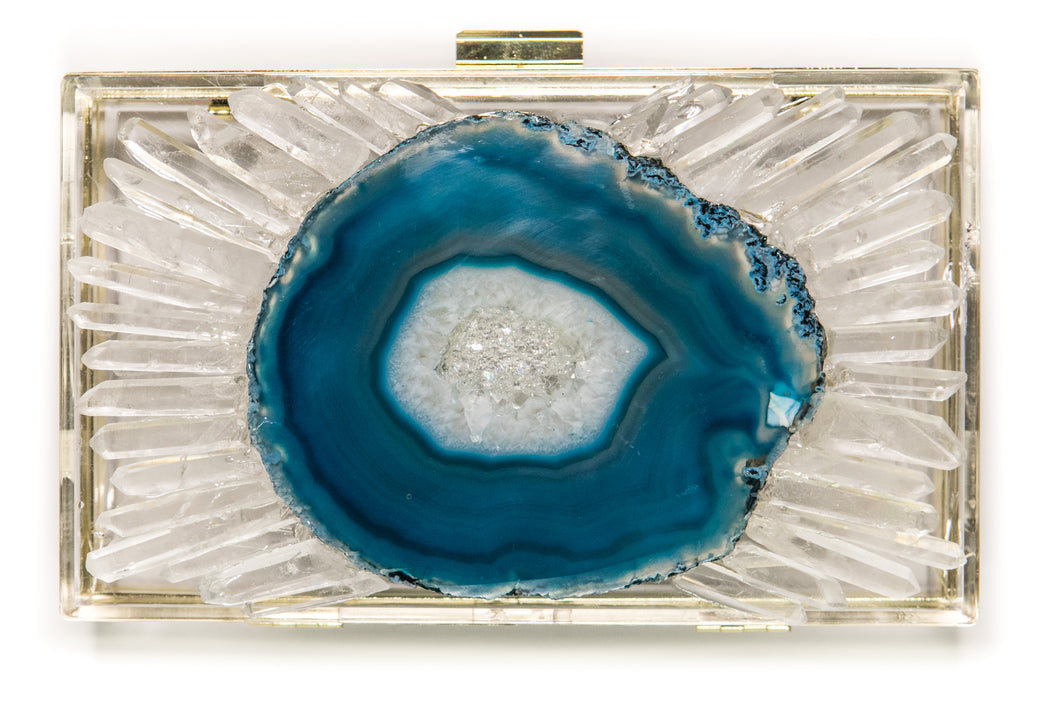 Teal Agate Slice Clutch