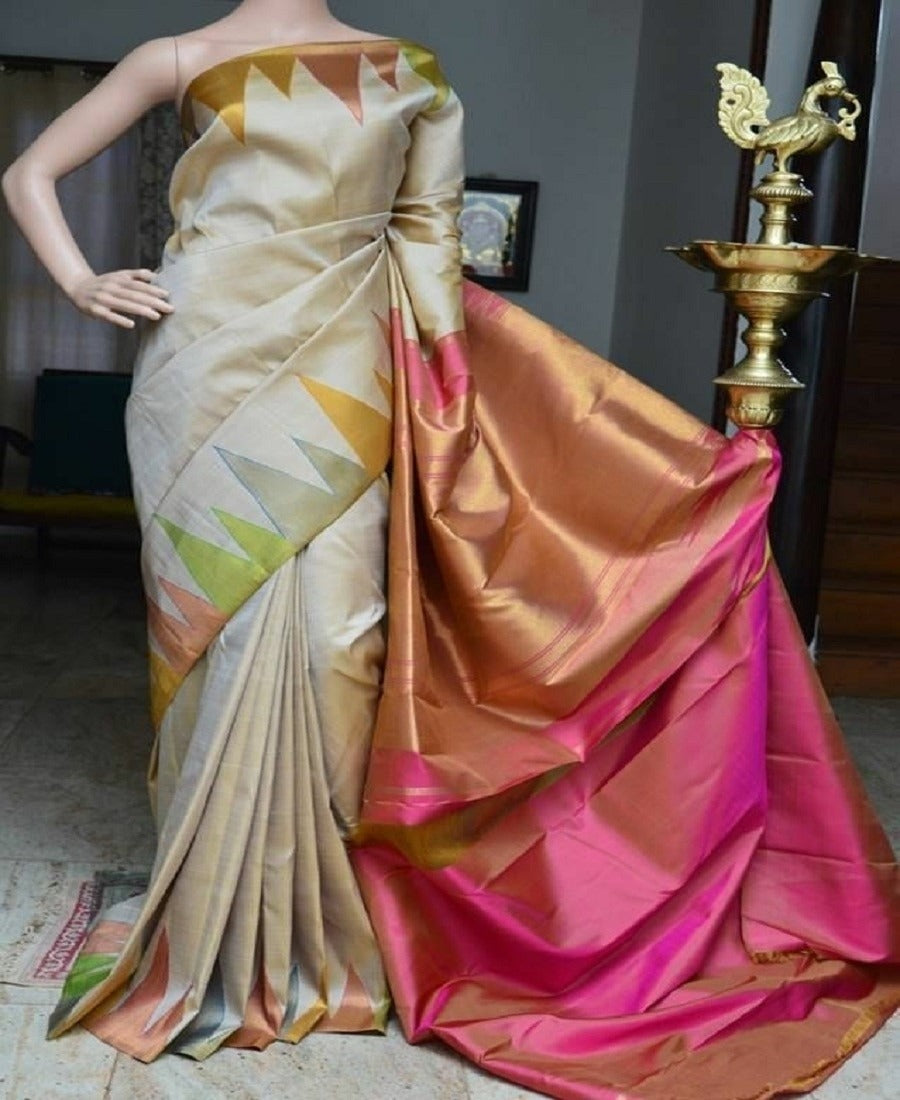 Stylish Beige and Pink Color Soft Silk Designer Saree