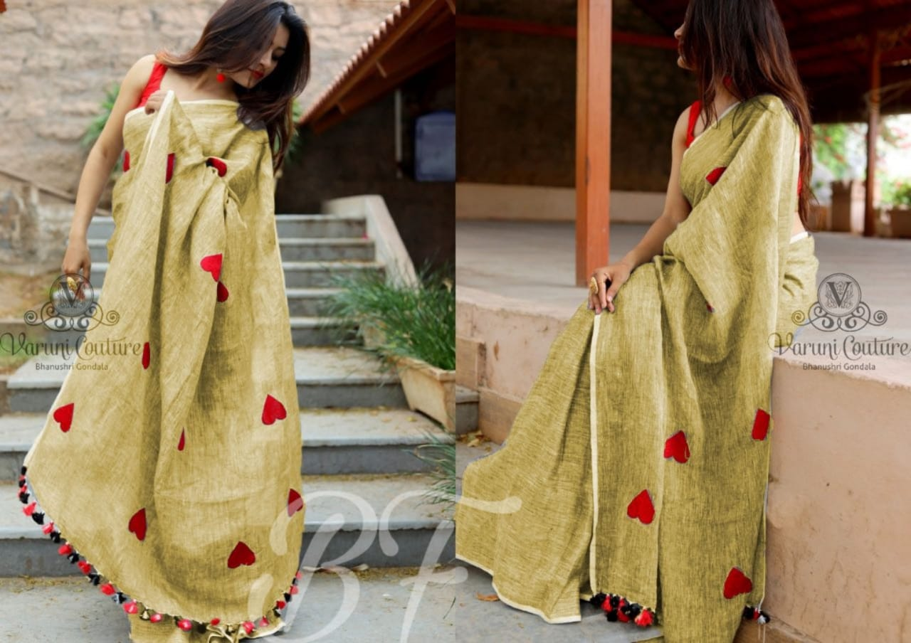 New Golden Color Chanderi cotton Heart Pattern Saree
