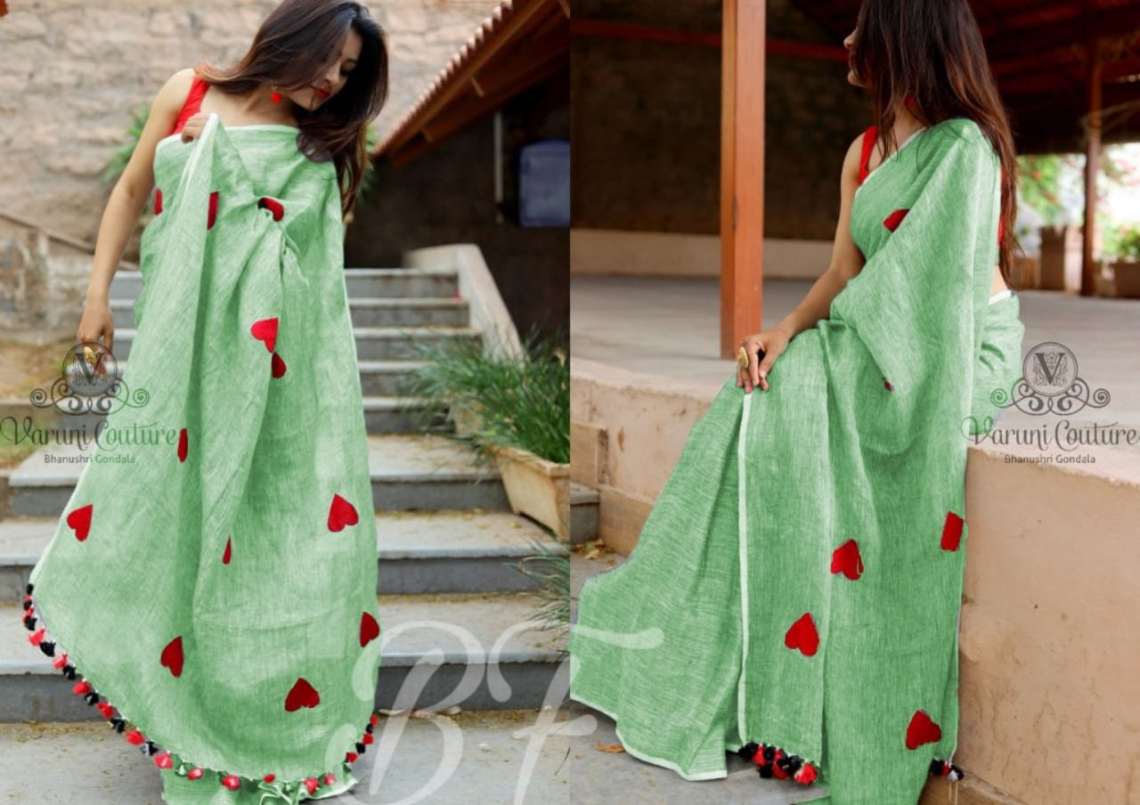 OutStanding Light Green Color Chanderi cotton Heart Pattern Saree