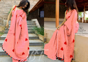 OutStanding heartless pink Color Chanderi cotton Heart Pattern Saree