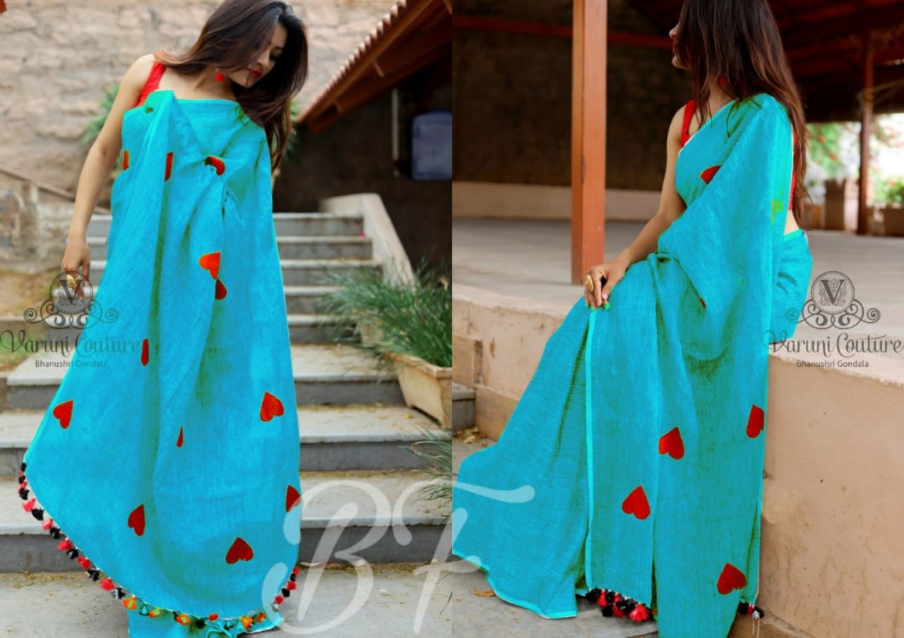 OutStanding Sky Blue Color Chanderi cotton Heart Pattern Saree