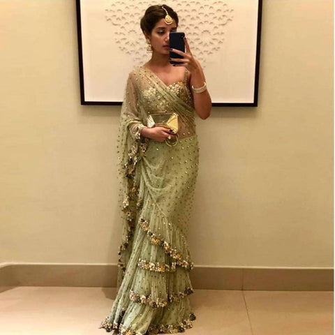 Beautiful light green Color net saree