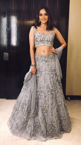 Beautiful Grey Color Embroidery Work Lehenga Choli
