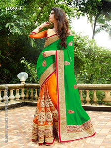 Green And Orange Color Designer Embroidery Work Saree