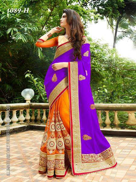 Violet And Orange Color Designer Embroidery Work Saree