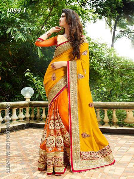 Yellow And Orange Color Designer Embroidery Work Saree