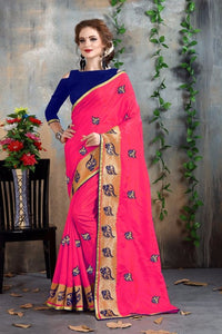 Pink And Blue Color Fancy Chanderi Saree