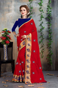 Red And Blue Color Fancy Chanderi Saree