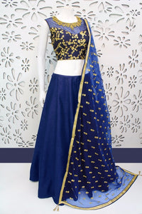 Latest Navy Blue  Designer Embroidery Lehenga Choli