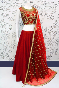 New Red Designer Embroidery Lehenga Choli