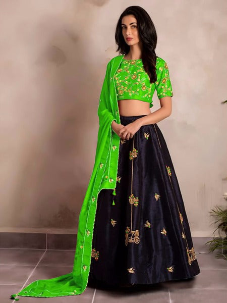 Stylish Green Color Tapeta Silk Designer Lehenga Choli