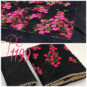 Fancy Designer Black  Color Net Embroidery Saree