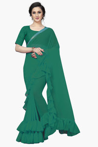 Outstanding Green Color soft silk Designer Saree