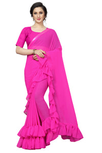 Outstanding Rani  Color soft silk Designer Saree