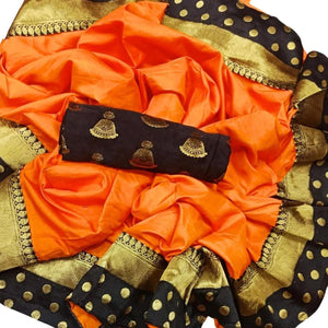 Admireable Orange Color JAQUARD Designer Saree