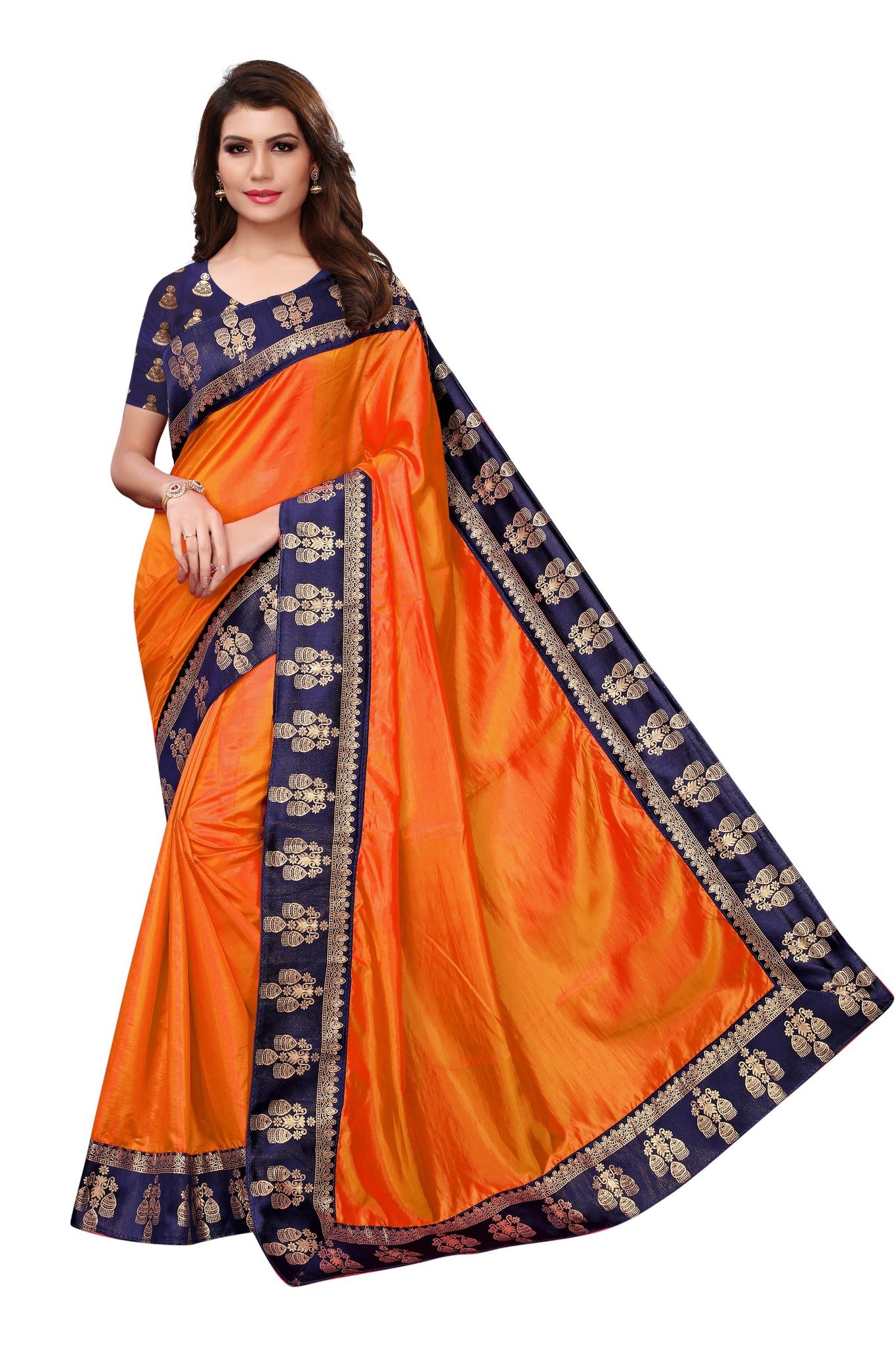 Outstanding Orange Color JAQUARD Designer Saree