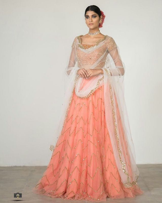 New Look Peach Color Designer Lehenga Choli
