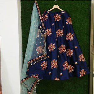 Trendy Blue Color Embroidery Work Lehenga Choli