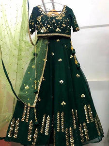 Latest Dark Green Color Embroidery Work Lehenga Choli