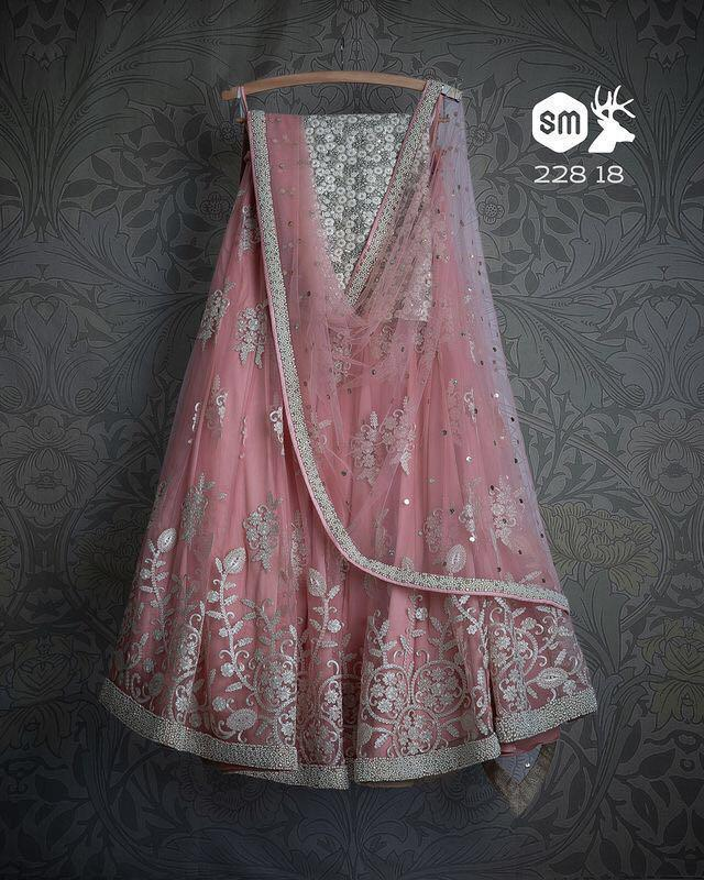 Latest Pink Color Embroidery Work Lehenga Choli