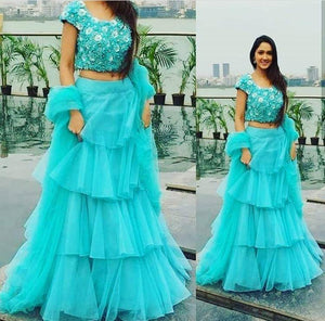 Trendy Sky Blue Color Embroidery Work Lehenga Choli
