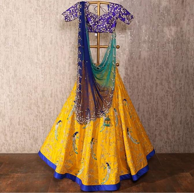 Trendy Yellow Color Embroidery Work Lehenga Choli