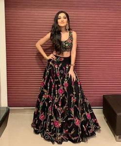 Adhesive Black Color Embroidery Work Lehenga Choli