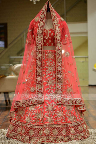 Out standing orange Color Embroidery Work Lehenga choli.