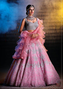 Adhesive pink Color Embroidery Work Lehenga Choli