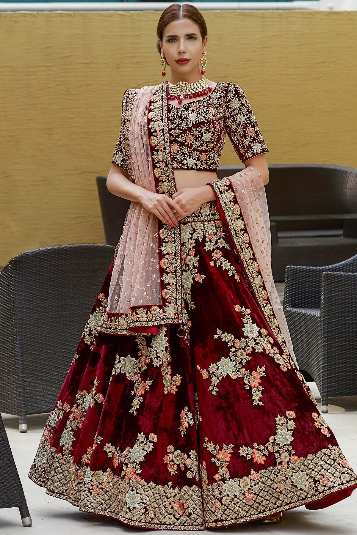 Fancy Maroon Color Embroidery Work Lehenga Choli