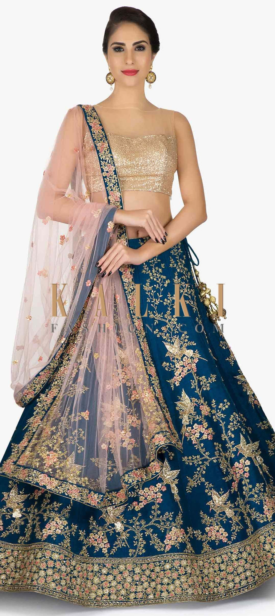 Fancy Rama Color Embroidery Work Lehenga Choli