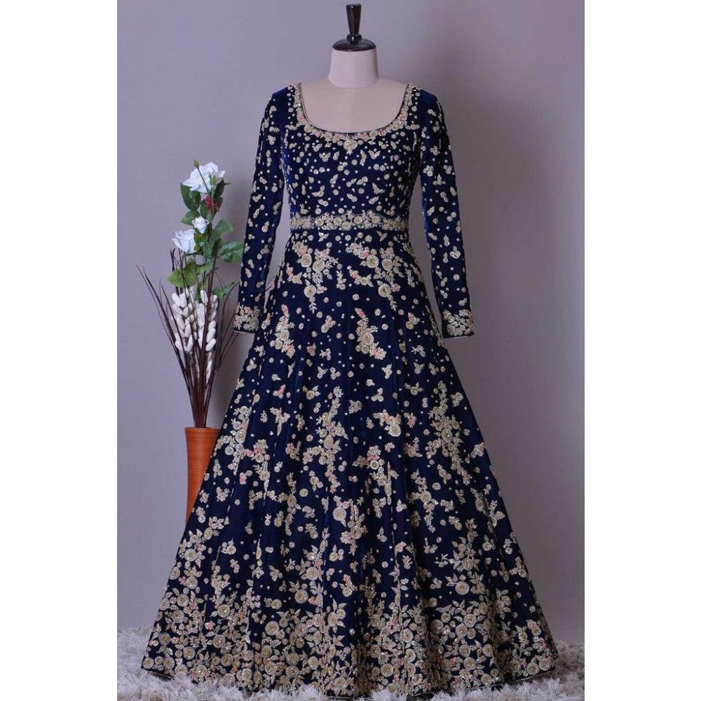 Alluring Navy Blue Color Embroidery Work Lehenga Choli