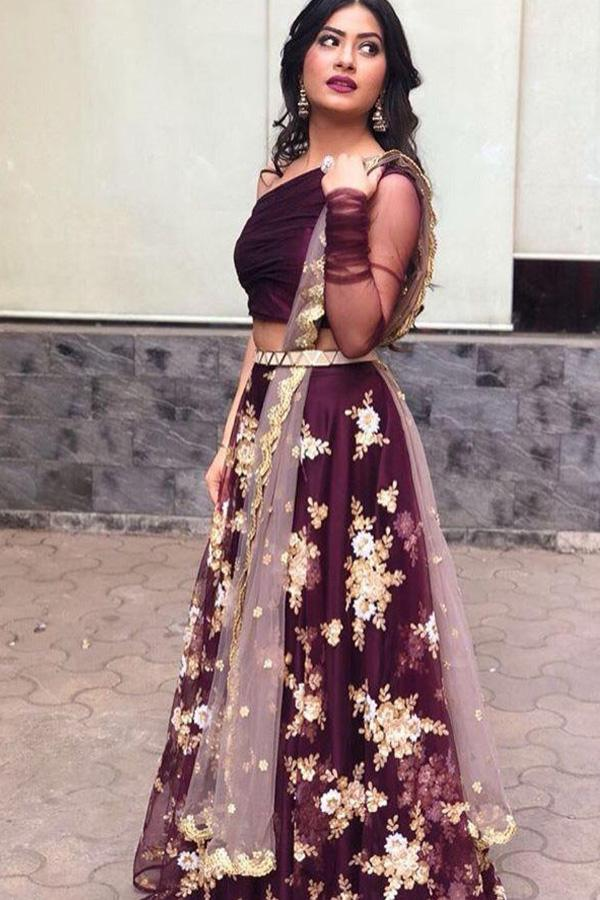 Adhesive Maroon Color Embroidery Work Lehenga Choli