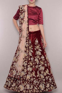 Out Standing Maroon Color Embroidery Work Lehenga Choli