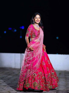 Heavy Embroidery Pink Color Tapeta Silk Lehenga Choli