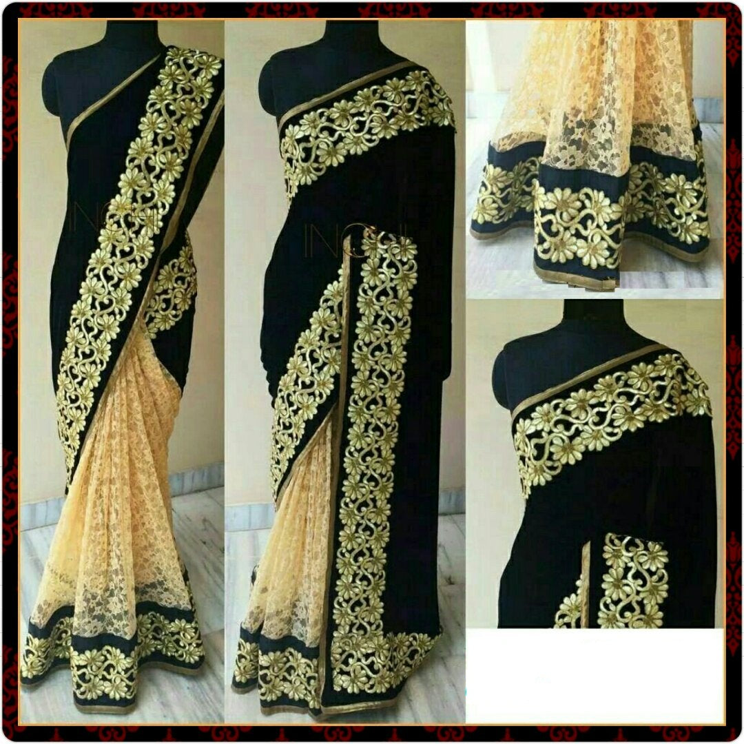 Party Wear Black Color Georgette And Rasal Net Designer Saree
