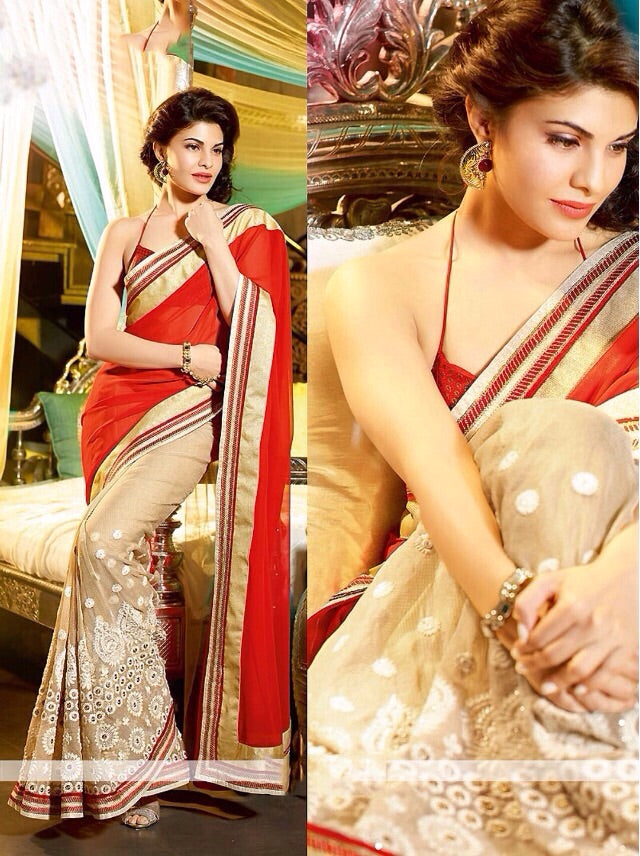 Amazing Cream And Red Color Georgatte Saree