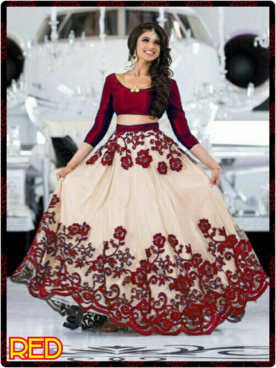 Beautiful Red And Light Peach Color Embroidery Work Lehenga Choli