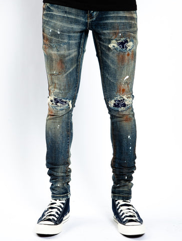 Navy Currency Biker Denim