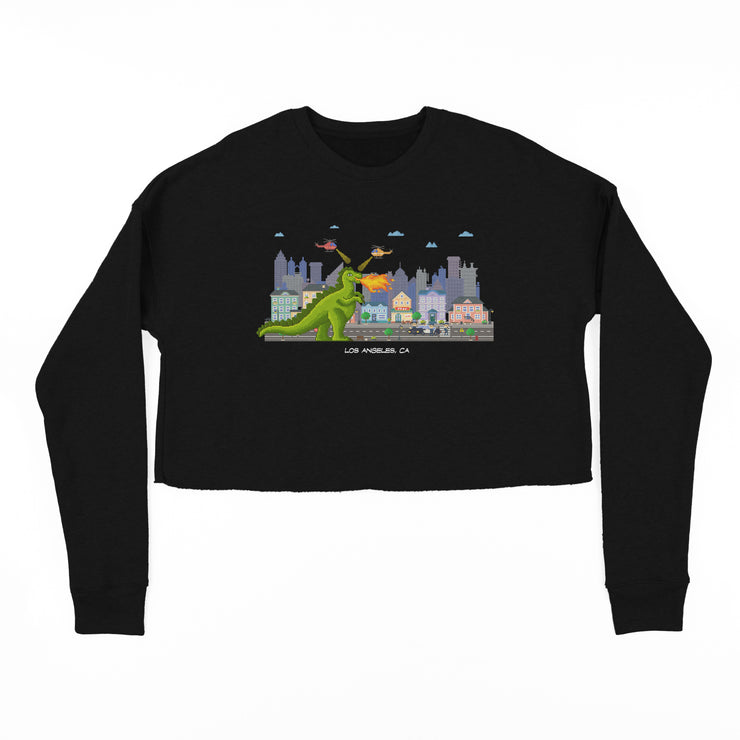 DINO IN THE CITY CROP SWEATSHIRT