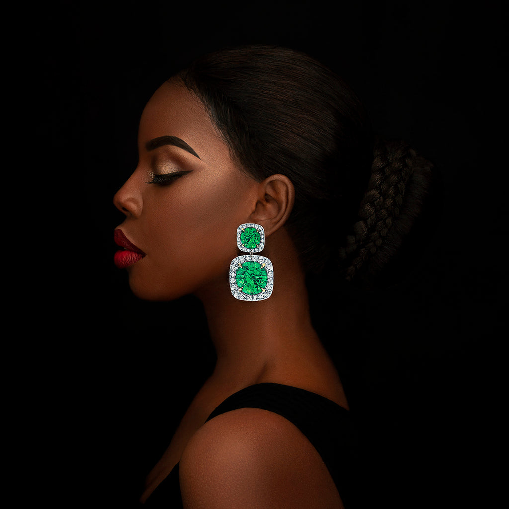 Anna Davern rocks earrings medium double square emerald emeralds
