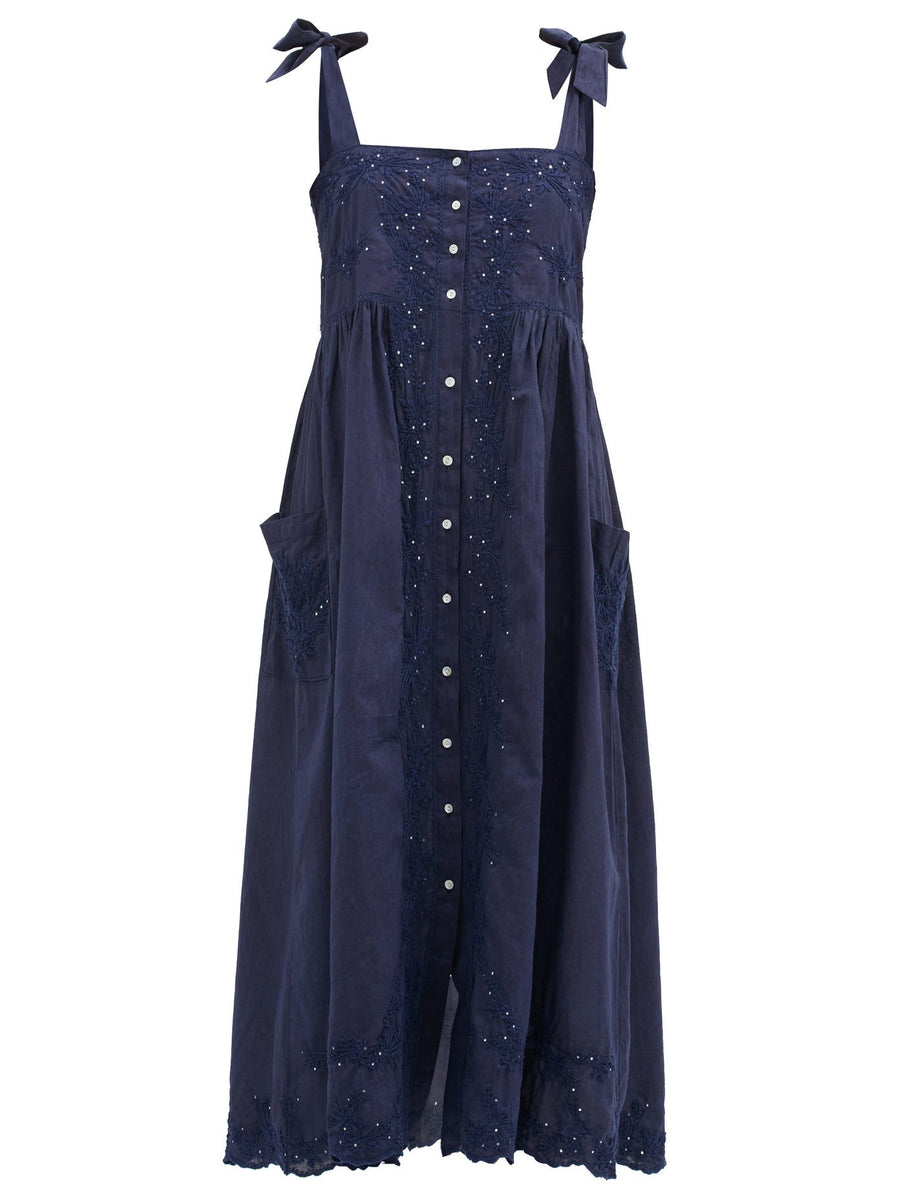 Floral-Embroidered Tie Shoulder Cotton Dress in Indigo