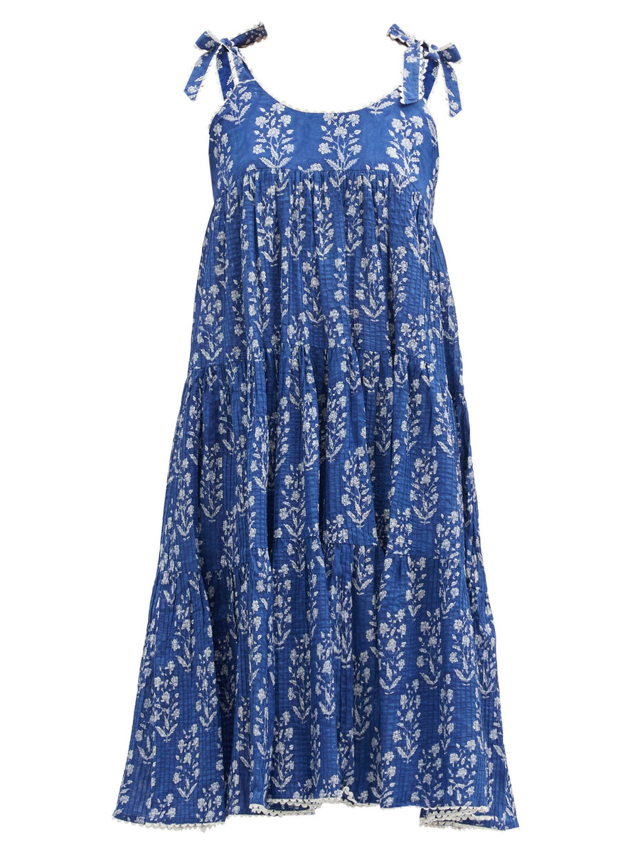 Floral Print Tiered Dress in Blue Flower Block Print