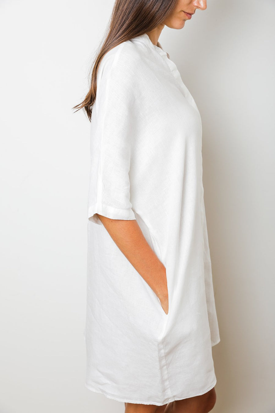 Linen Shirt Dress in White
