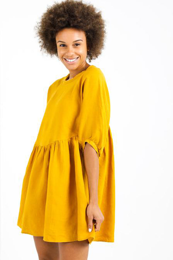 Alcala Linen Short Dress in Mustard
