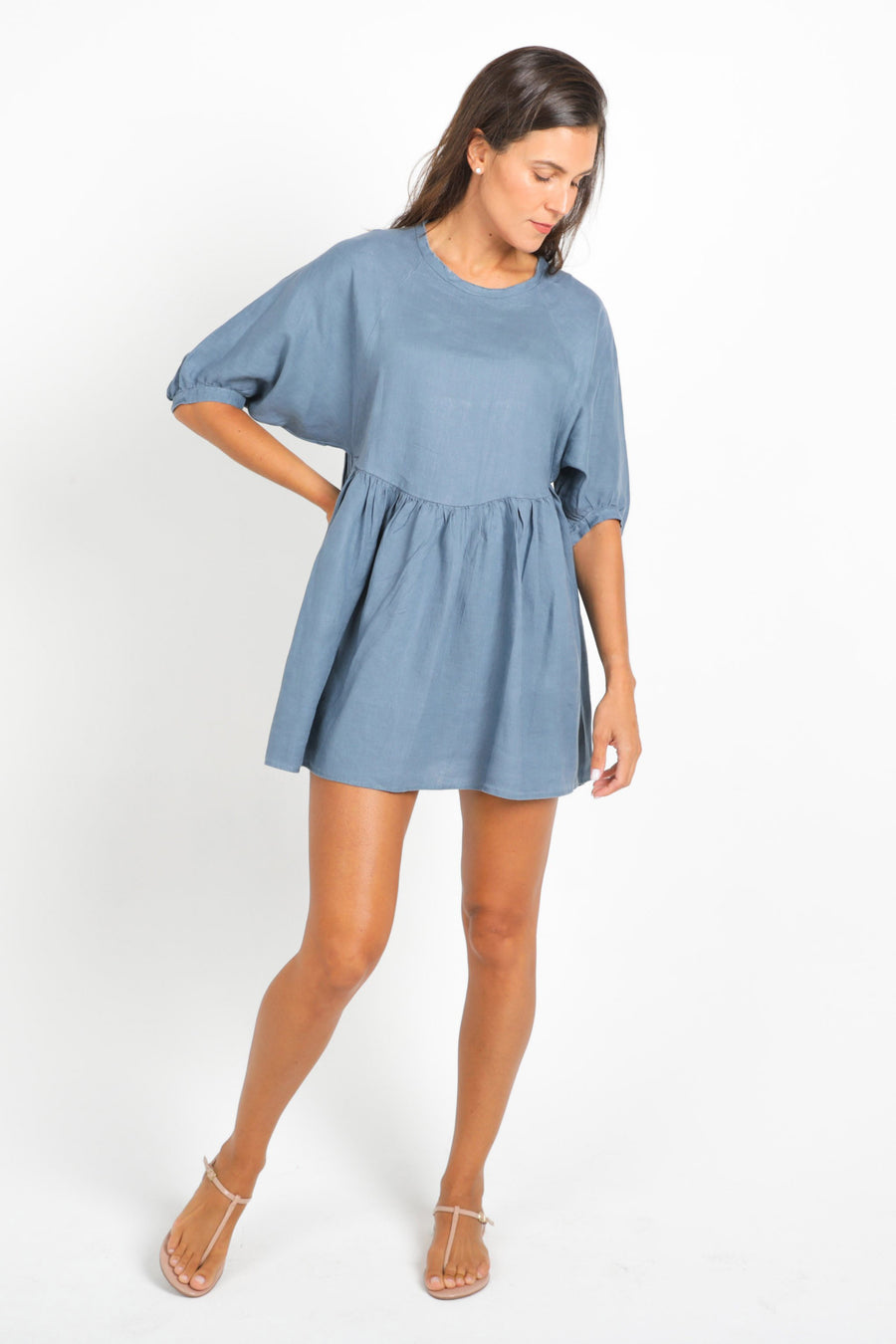 Alcala Linen Short Dress in Petrol