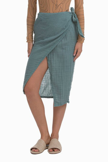 Cotton Banda Skirt in Dusty Teal