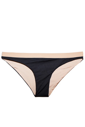 Pandora Bikini Bottoms in Black with Nude Elastic